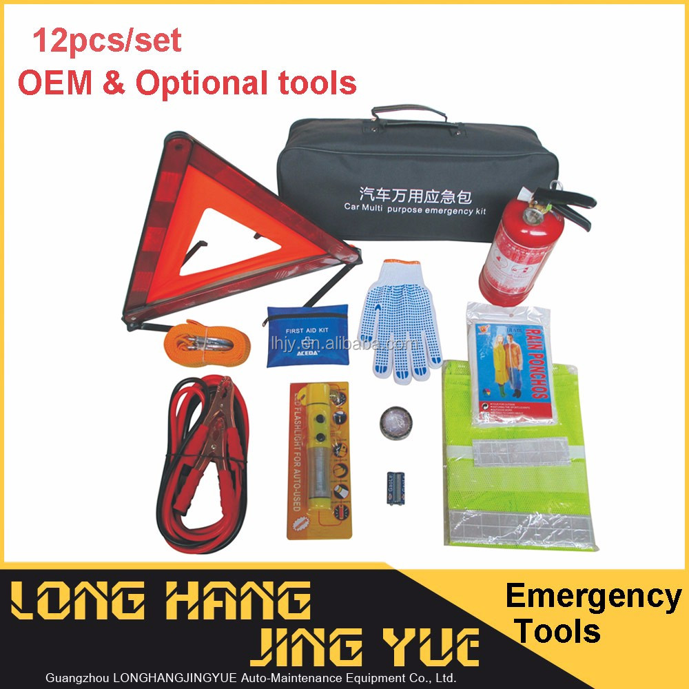 Portable roadside car emergency safety kit auto tools kit with 4 in1 flashlight