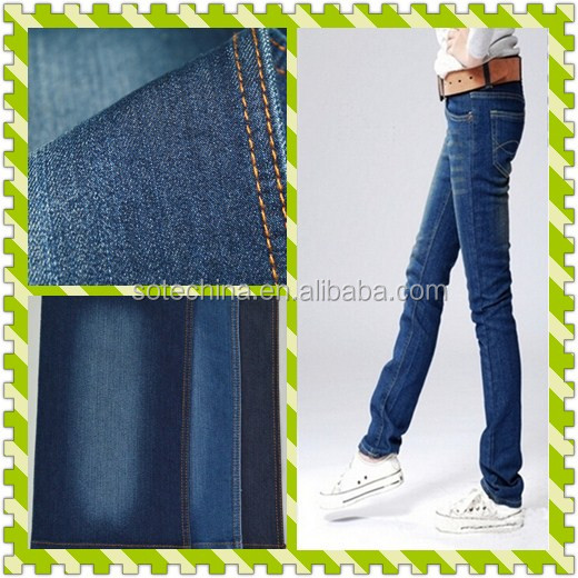 Jeans fabric cotton polyester elastic twill fabric slub spandex fabric with high quality - 2016 hot sale textile