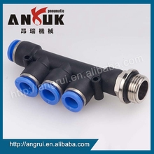 New design Push in fittings PKB male triple, pneumatic fitting price