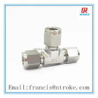 stainless steel 316 equal tee pipe fitting double ferrule tee with silver planted nut