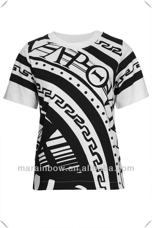 high quality sublimated print tee ,woman fashion clothing