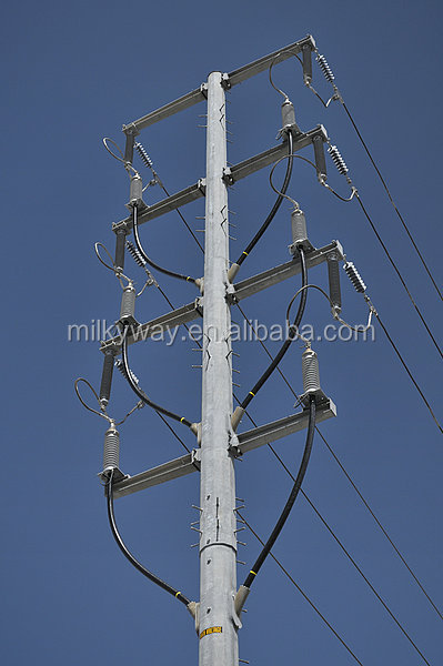 Hot dip galvanized medium voltage telecom pole steel tower for transmission line