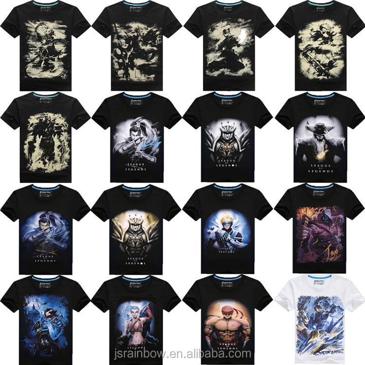 100% cotton game characters 3d digital print men t shirt custom t shirt printing