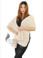 CX-B-94B Women Wholesale Alibaba Branded Rex Rabbit Knitted Fur Scarves Shawls