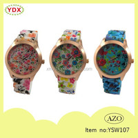 Newest wristwatches for girls flower printed vintage watches