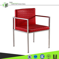 B8002 stainless steel legs pu leather covers dining room chair with arms