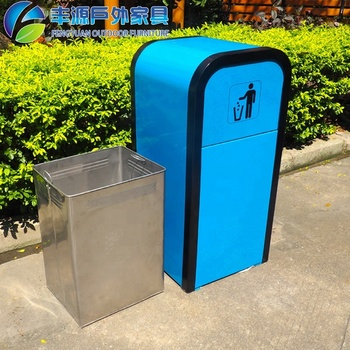 80L Galvanized Steel Decora Receptacles Metal Trash Bin Outdoor Trash Can