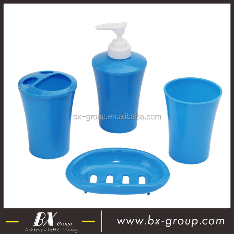 BX Group hotel supplies fashion 4pcs blue plastic PP bathroom set accessory