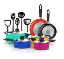 Nonstick Cookware Set - Colored Kitchen Pots and Pans Set Nonstick with Cooking Utensils Teal Pots and Non Stick Pans Set
