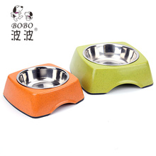 wholesale Bamboo and stainless steel dog bowl from China