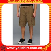 2014 Wholesale cheaper loose solid color quick dry polyester fitted mens cargo shorts