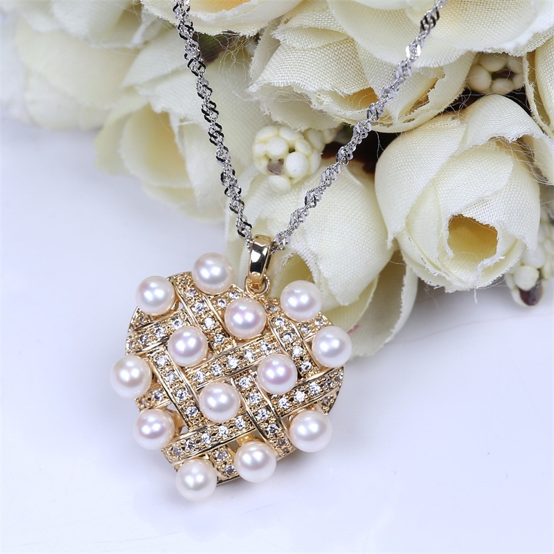 Popular Simple Rhinestone Choker Heart Pendent Pearl Necklace