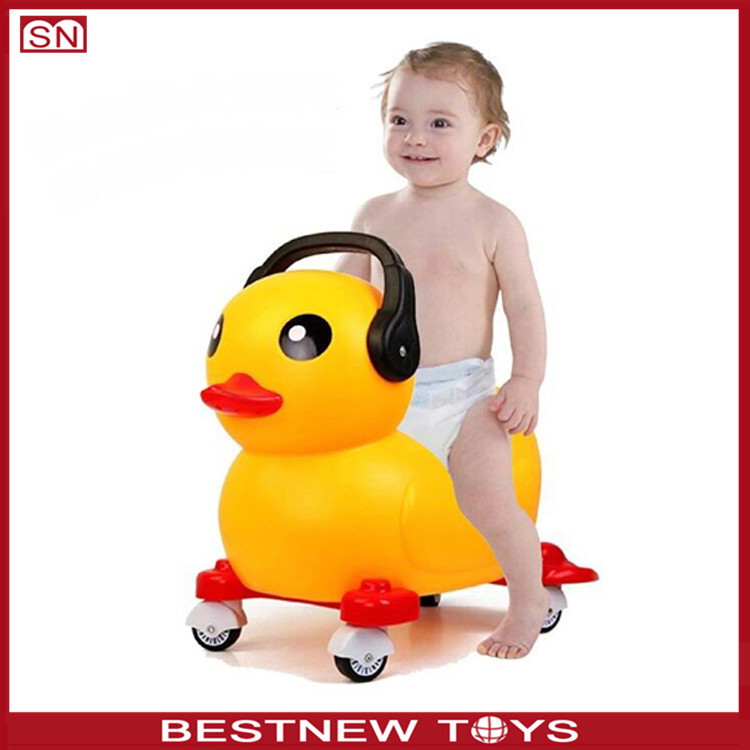 Funny yellow duck sliding baby walker car shape for kids