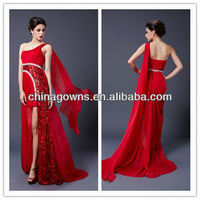 Shoulder costly nail bead sequins open fork long style evening dress,cocktail dress