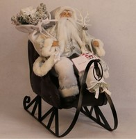 XM-A6028 18 inch white santa on metal sleigh for christmas decoration