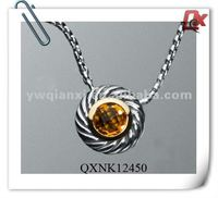 Fashion yellow big sapphire necklace with silver chain for fashion women (QXNK12450)