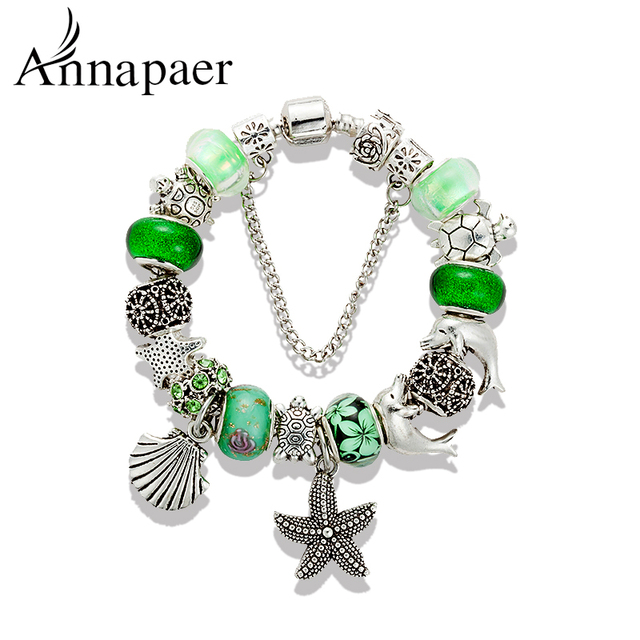 Annapaer 2016 Fashion Tortoise Charms Bracelets & Bangles Green Murano Glass Beads Bracelets For Women Diy Jewelry Gift B15405