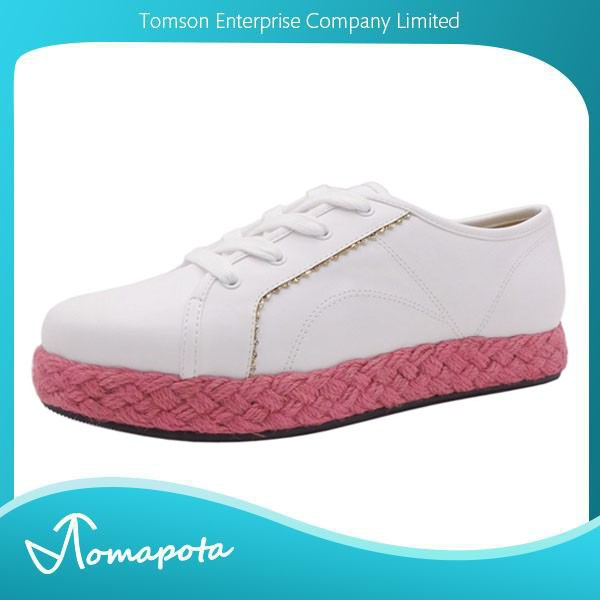 Comfort women lace up sneakers ladies white color with coral jute flat espadrille casual shoes