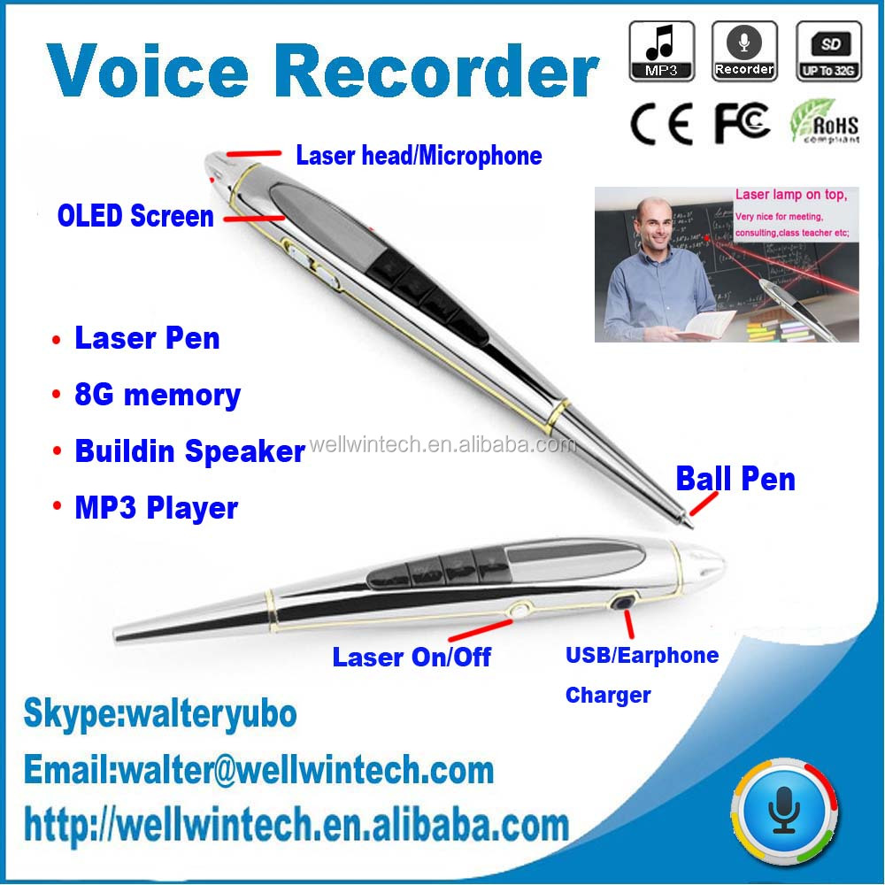 Newest Five in One pen type digital voice recorder, MP3+USB+Pen+Laser+Voice Recorder buildin 8G