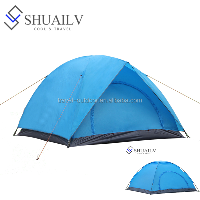 3-4 Person Travel Sleeping Tent Waterproof Two-Layer Fiberglass Carpas Camping Tent 1 Bedrooms For Outdoor Sports Tourist Tents