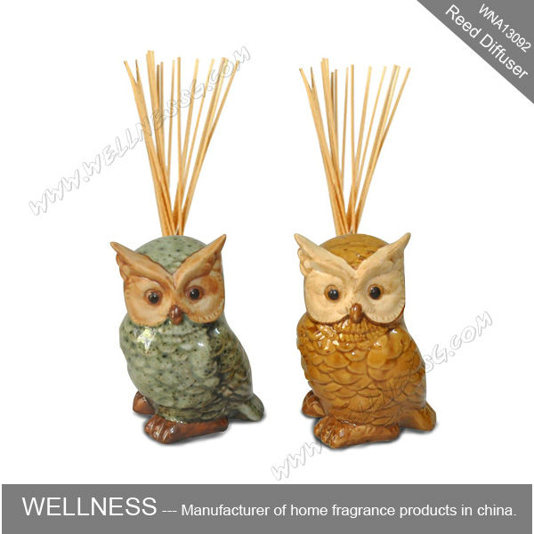 owl shaped ceramic holder air freshener reed diffuser with sticks