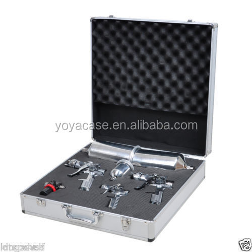 7-Piece HVLP Spray Gun Aluminum Carry Case stainless steel needle and nozzle set