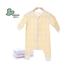 MIKAQI pure cotton gauze animal pattern cute baby onesie with zipper