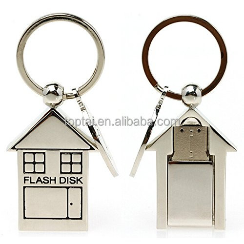32G USB Metal House Shape with Heart Keyring USB 2.0 Memory Stick Flash Drive Flash Disk