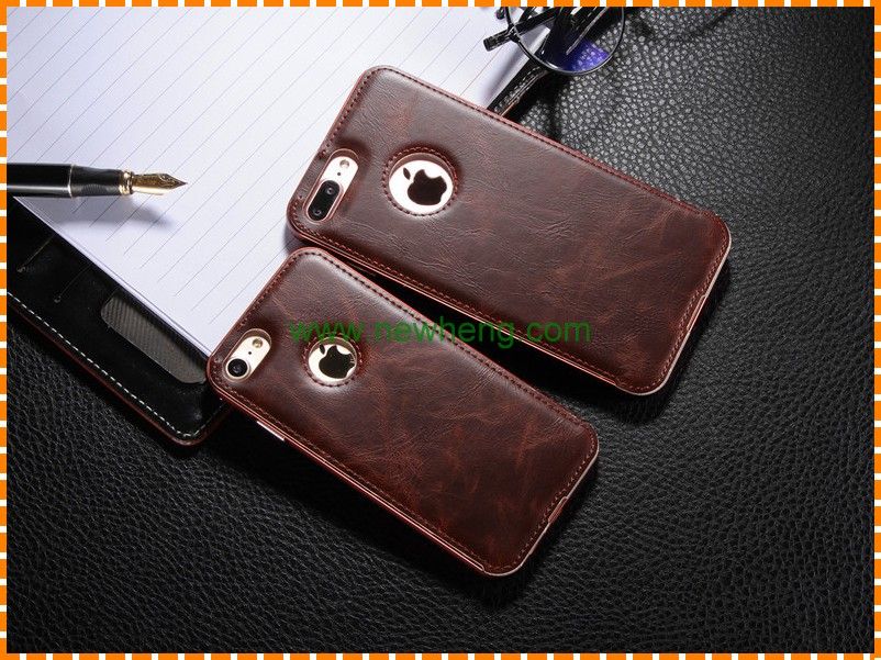 New Style Metal Frame +pu leather phone back cover case for Iphone 7