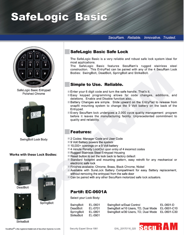 (ECSL-0601A)Electronic Combination Safe Lock