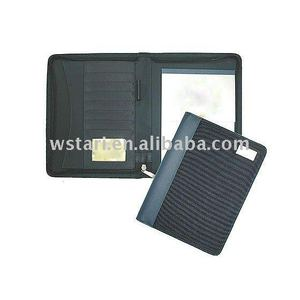 A4 A5 pu plastic leather folder portfolio zipper closure with calculator