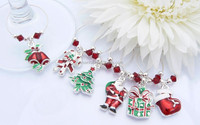 New arrival Christmas theme silver plated enamel rhinestone wine glass charms
