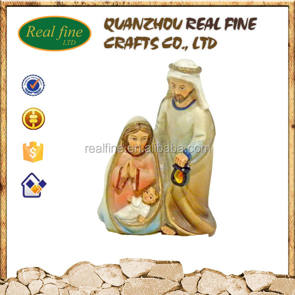 Resin holy family handmade painted decorative painted jesus mary