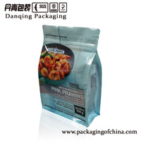 Plastic qual seal flat bottom food bag with zipper, customized for frozen seafood,meat