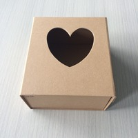 new fashion design hard paperboard craft folding box with heart shape window