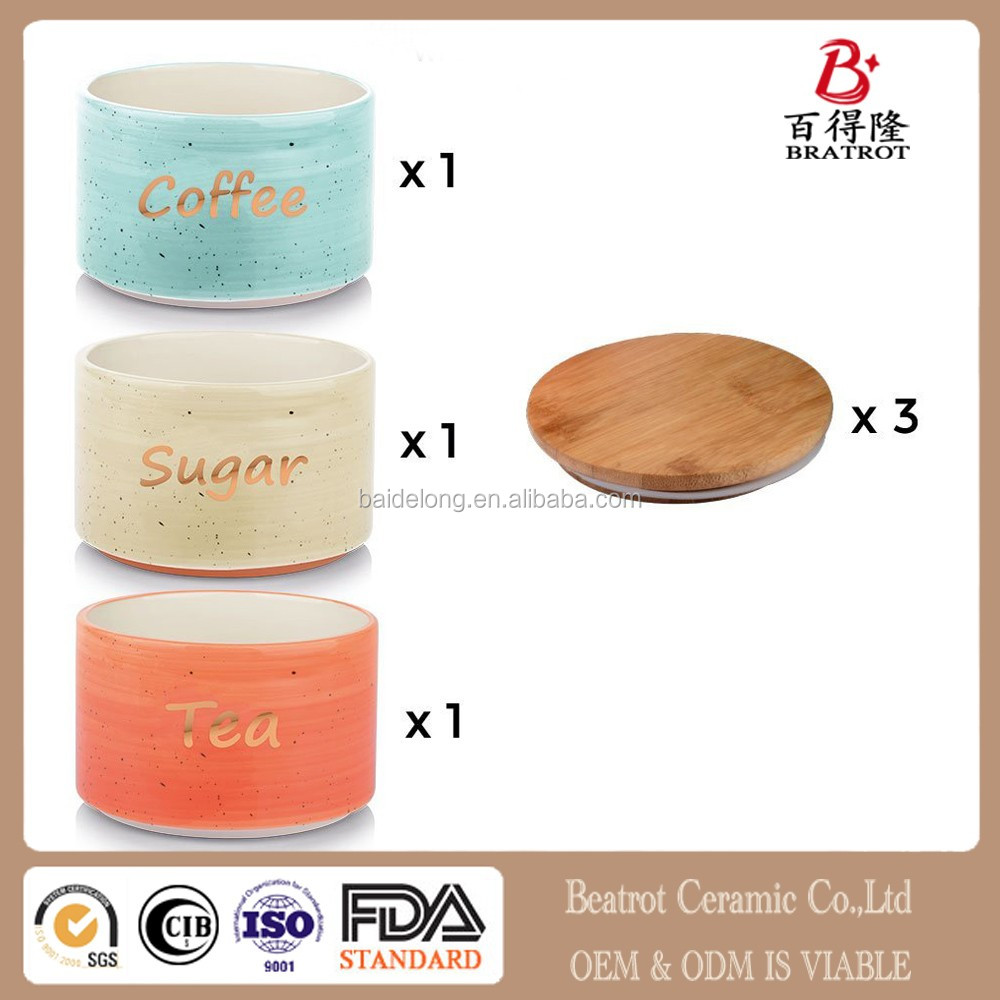 Coffee Tea Sugar Canister Set In Ceramic - 3 Piece Stackable Set with Bamboo Top Lid