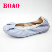 Customized Spain Women Casual Soft Leather Flat Casual Shoes with bow tie