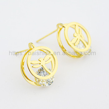 round animal shaped earrings crystal jewelry for kids
