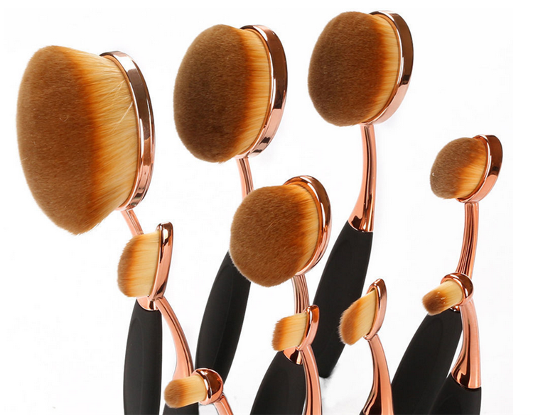 Rose Gold 10 pcs/5 pcs Oval shape ULTIPURPOSE Professional Foundation Powder Brush Kit