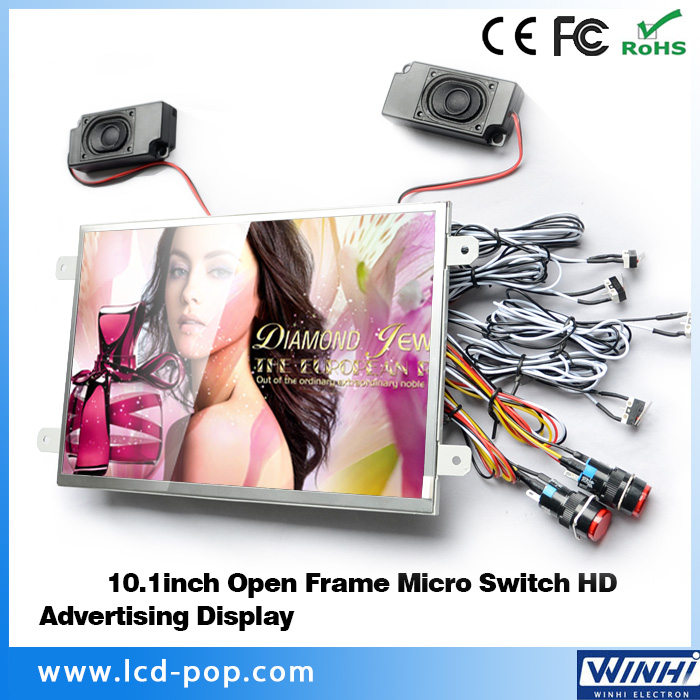 Wholesale 10 inch Open Frame Wall Mount TV Micro Switch USB SD Optical HD Elevator Advertising Display 12V DC LCD Monitor Screen