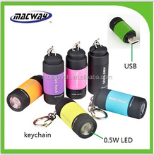 Promotion top sale usb flashlight mini colorful usb keychain torch