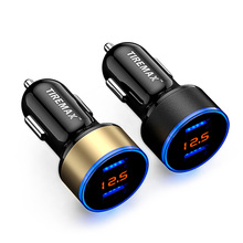 Car Charger Universal Dual Ports Intelligent LED Screen Display Quick USB Car Charger 12V-24V