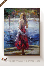 High Quality Sexy Lonely Girl in Red Dress High Heel Sample Picture of Canvas Oil Painting Wall Art For Wall Decor