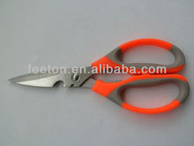 "8"" stainless steel kitchen hot scissors with rubber handle"