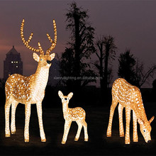 Garden/home led decorative golden/white large outdoor christmas reindeer light