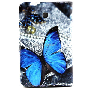 For GALAXY Tab 3 Lite T110 Butterfly Pattern Flip Smart Stand Leather Case For Samsung Luxury Folding Smart Cover Case