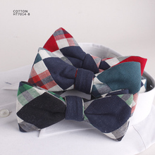 Scottish Grid Stitching Fabric Mens Charms Cotton Bow Ties
