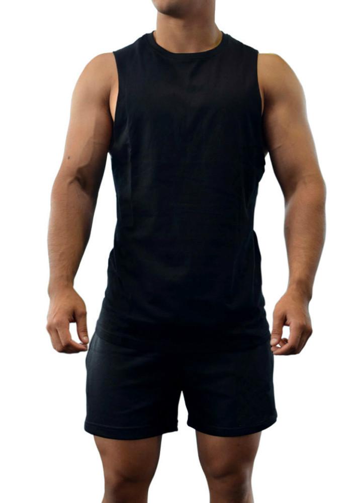 Gym singlet bodybuilding tank mens sleeveless muscle plain for Singlet shirt for mens