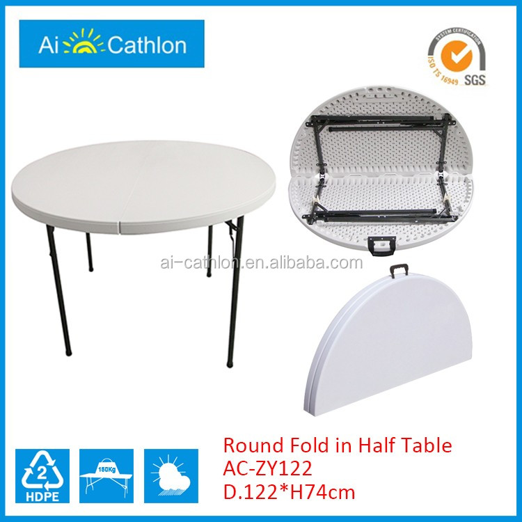 Cheap 4FT Fold-in-Half Round Table,Plastic Folding Round Table