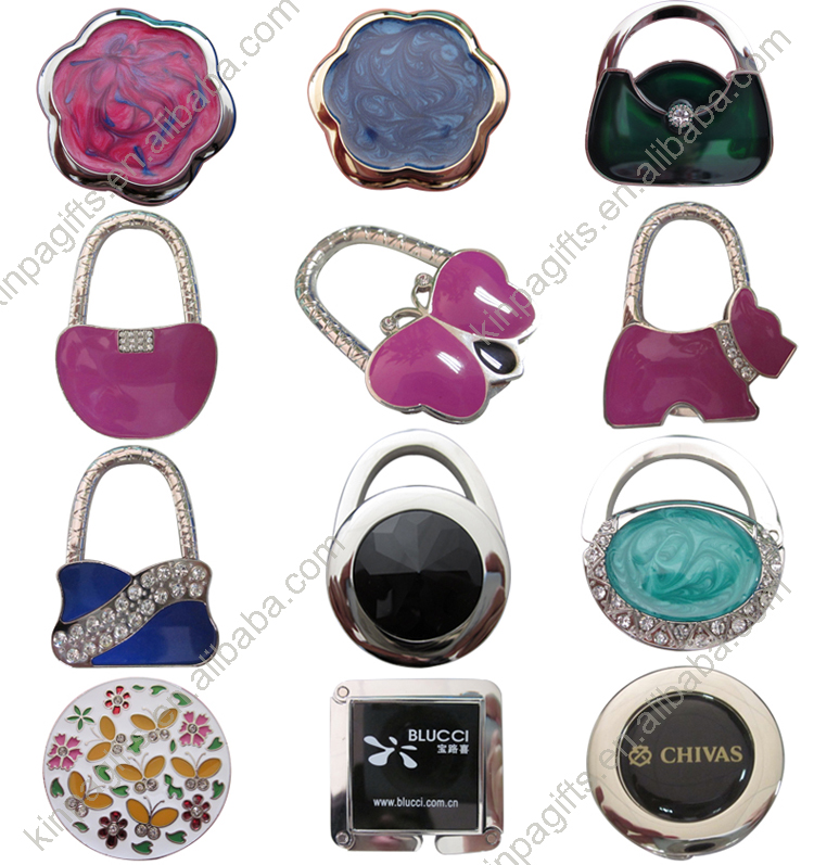 Wholesale Customized Epoxy Logo Folding Purse Hook Handbag Holder Bag Hanger
